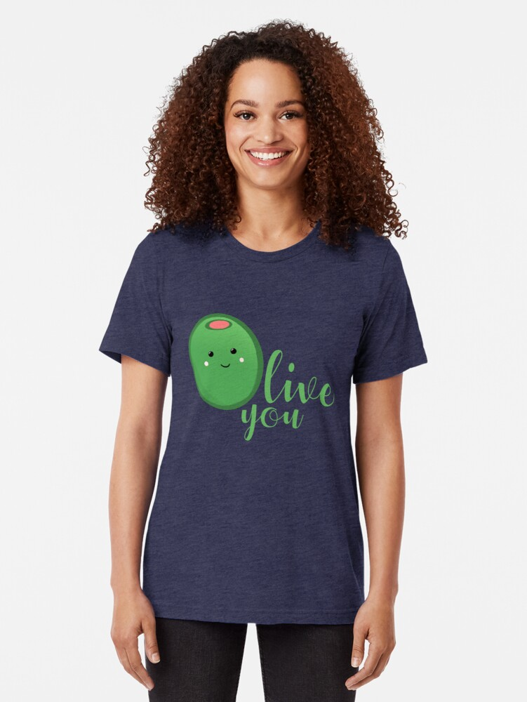 Alternate view of OLIVE YOU - Typography - Calligraphy - Text Tri-blend T-Shirt
