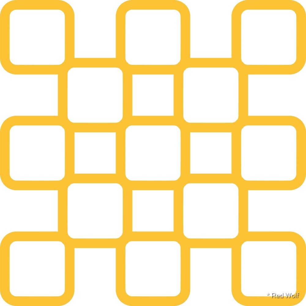 Geometric Pattern: Rounded Weave: Yellow/White by * Red Wolf