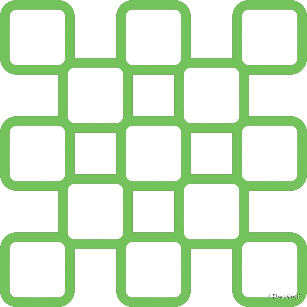 Geometric Pattern: Rounded Weave: Green/White by * Red Wolf