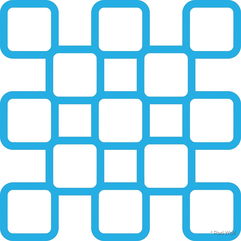 Geometric Pattern: Rounded Weave: Blue/White by * Red Wolf