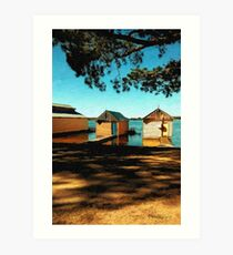 Views from the Lake II - Boathouses Art Print