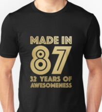 32nd Birthday Gift Adult Age 32 Year Old Men Women Slim Fit T-Shirt