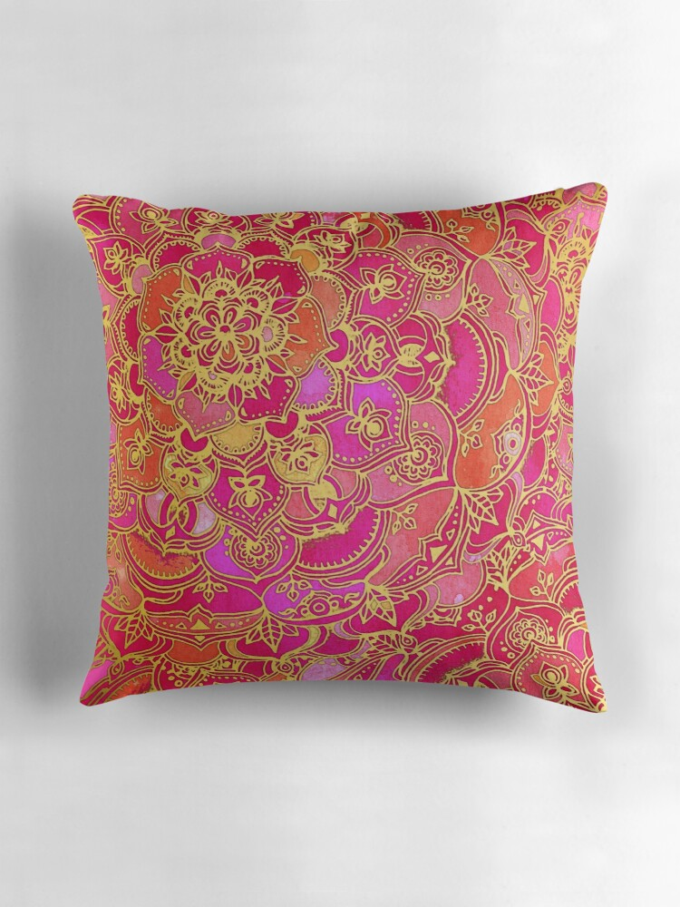 Quot Hot Pink And Gold Baroque Floral Pattern Quot Throw Pillows
