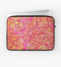 Hot Pink and Gold Baroque Floral Pattern Laptop Sleeve