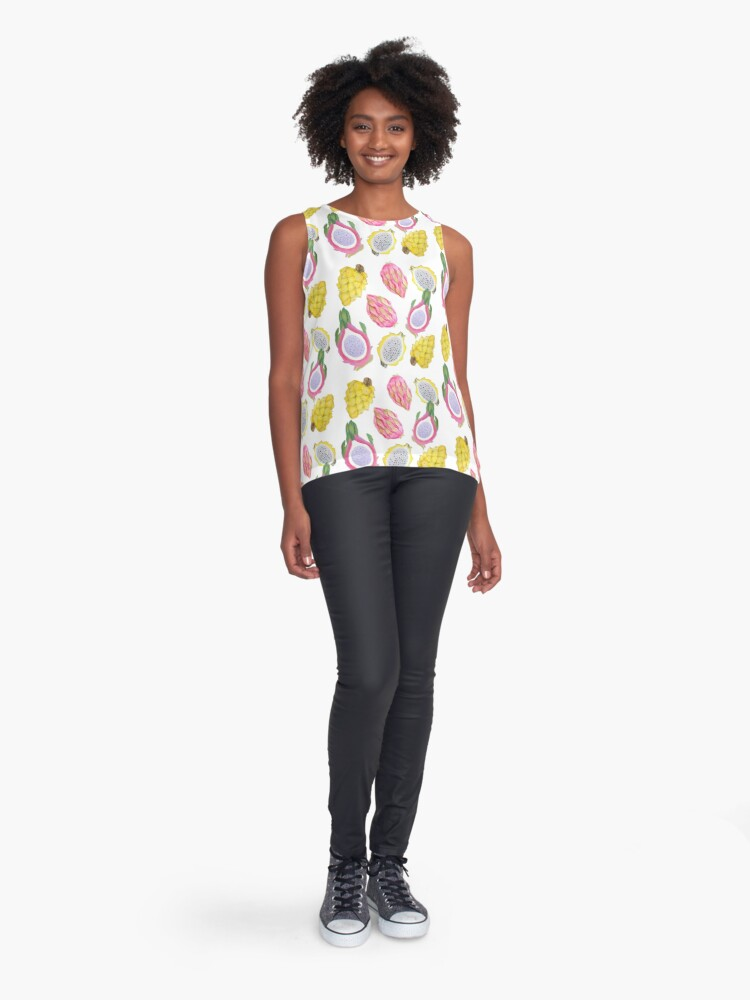 Alternate view of Tropical Dragon fruit watercolor Sleeveless Top