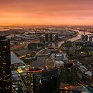 Moody Sunset Over Melbourne by Raymond Warren