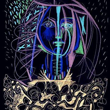 FRANCOISE: Vintage 1946 Portrait von Picasso Kolorierter Druck von posterbobs