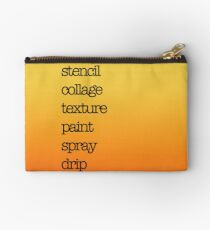 Make art and mixed media crafter text design black on red, orange and yellow Zipper Pouch