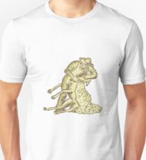 Farmworker Shearing Sheep Etching T-Shirt