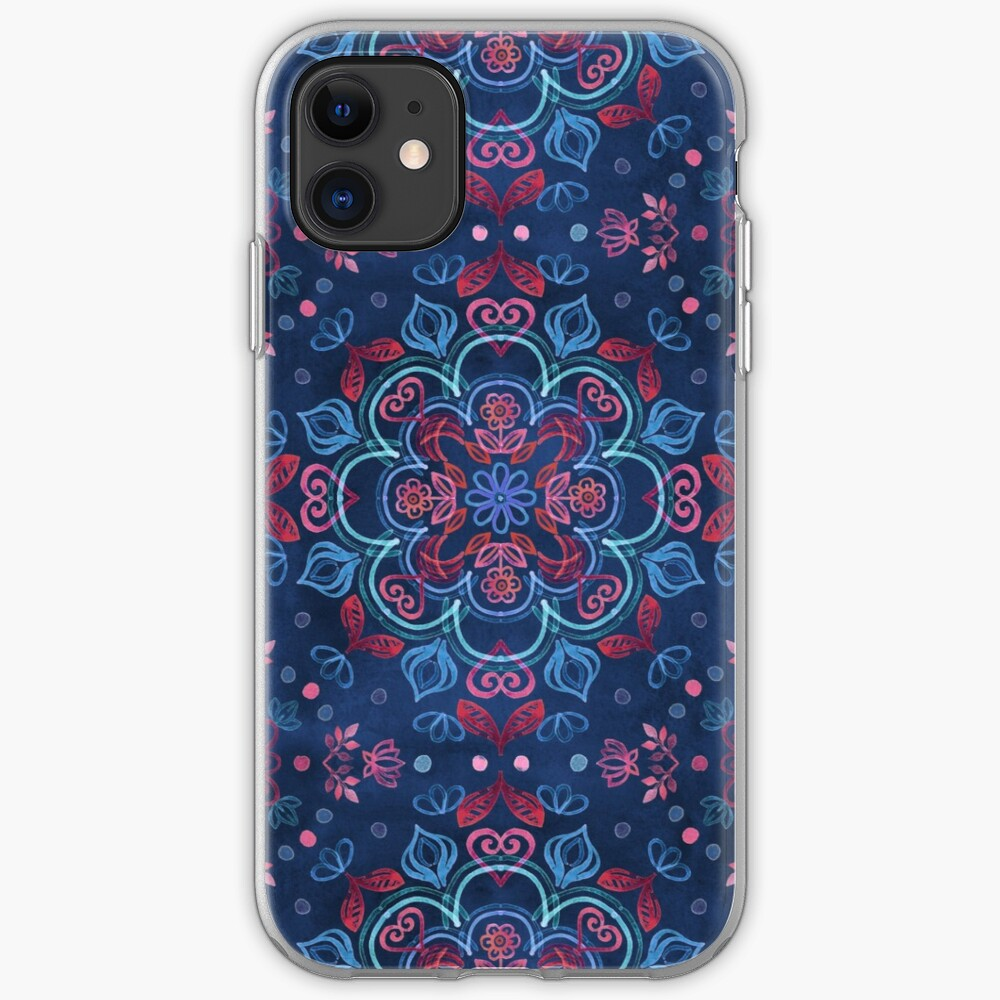 Cherry Red & Navy Blue Watercolor Floral Pattern iPhone Case & Cover