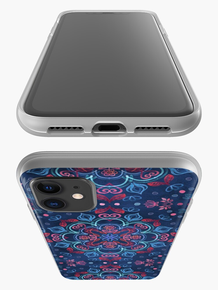 Alternate view of Cherry Red & Navy Blue Watercolor Floral Pattern iPhone Case & Cover