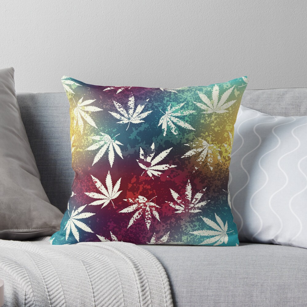 Red Gold and Blue Mosaic Cannabis Marijuana Pot Weed 420 Print Throw
