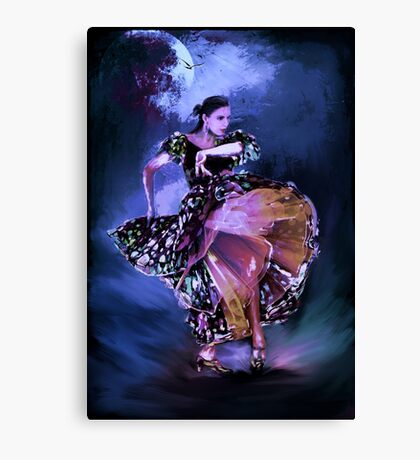 Flamenco in the moonlight Canvas Print