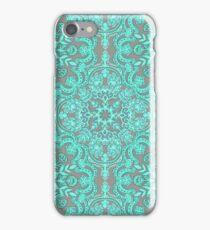 Mint Green & Grey Folk Art Pattern iPhone Case/Skin
