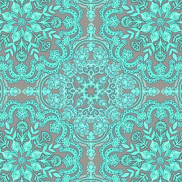 Mint Green & Grey Folk Art Pattern de micklyn