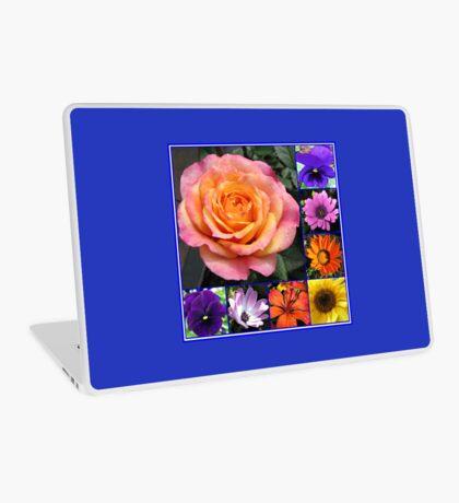 Blumen der Sommer-Collage, die leuchtende Rosen-Schönheit kennzeichnet Laptop Skin