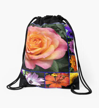 Blumen der Sommer-Collage, die leuchtende Rosen-Schönheit kennzeichnet Turnbeutel