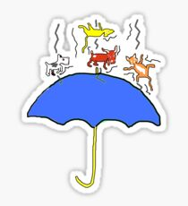 Raining Cats and DOGS (blue) T SHIRT/STICKER Sticker