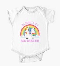 I'm Going To Be A Big Sister Cute Unicorn Pregnancy Announcement Short Sleeve Baby One-Piece
