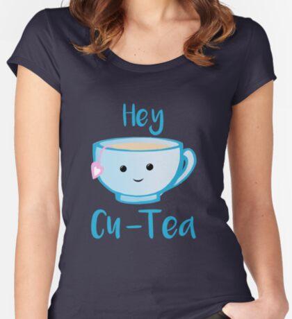 Hey Cu-tea Shirt - Tea Pun Fitted Scoop T-Shirt