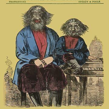 Vintage Freak Show Poster, South London Palace (Behaarter Mann und sein Sohn) von monsterplanet