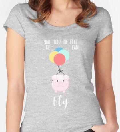 PIG, You make me feel like I can fly - Flying Pig - Pig Puns -Valentines -  Hog Puns - Cute Pig - Pig T Shirt - Fly - Motivation  Fitted Scoop T-Shirt