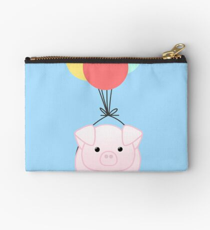 PIG, You make me feel like I can fly - Flying Pig - Pig Puns -Valentines -  Hog Puns - Cute Pig - Pig T Shirt - Fly - Motivation  Zipper Pouch