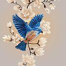 «Ilustración de pájaro canción azul» de Ruta Dumalakaite