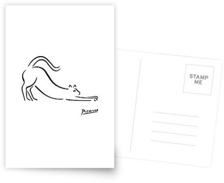 Pablo Picasso Cat Artwork Shirt, Kätzchen Skizze Reproduktion von Art-O-Rama