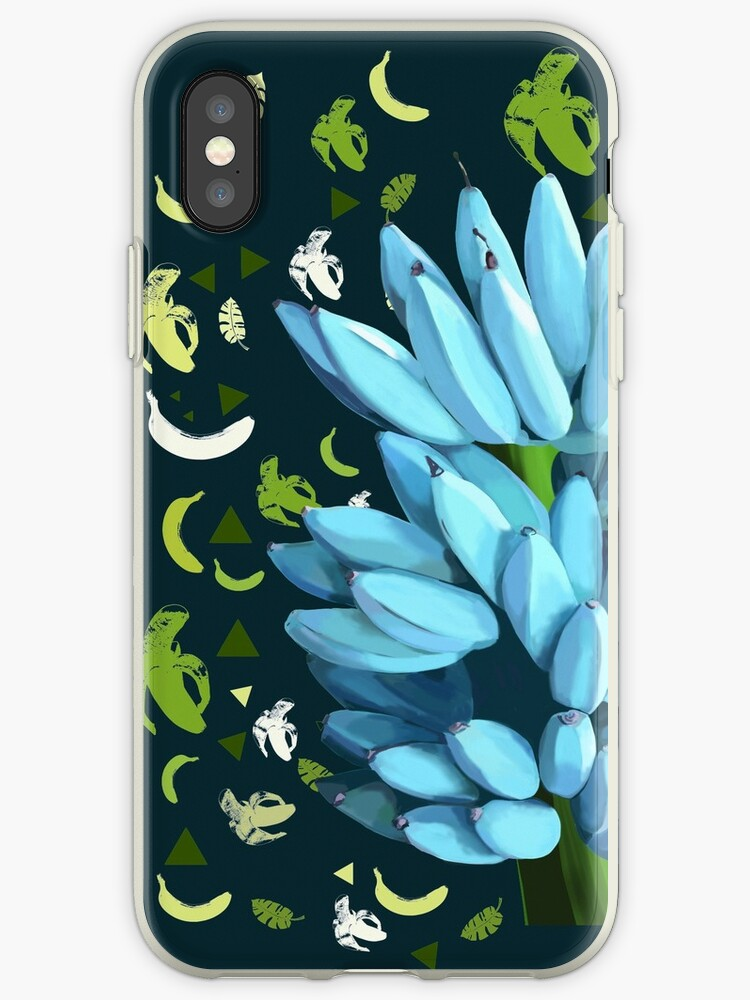 ' Blue java Banana diet with a green background ' iPhone Case by  MimieTrouvetou
