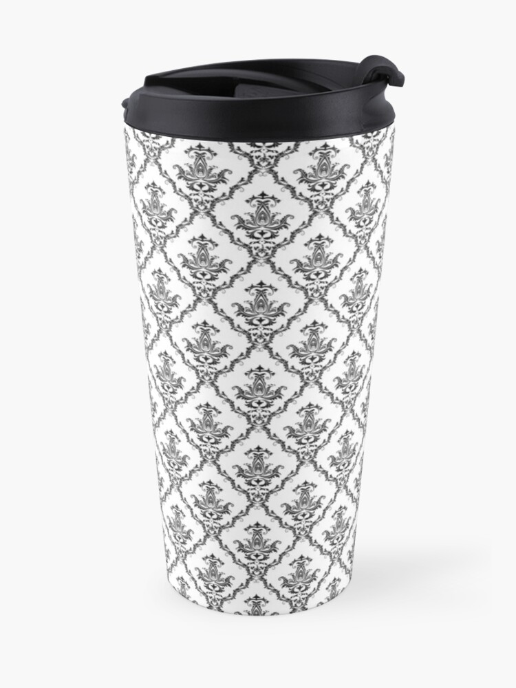 Alternate view of Damask floral .Decorations and ornamental. Travel Mug