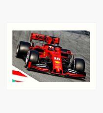 Lámina artística Charles Leclerc en el Ferrari 2019