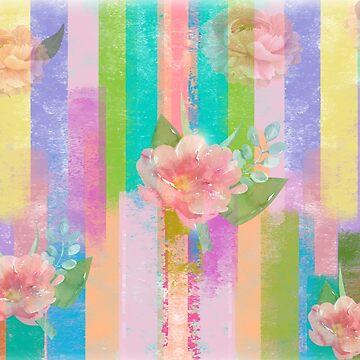 stripes floral print by MallsD