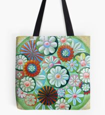 Green Flowers Tote Bag
