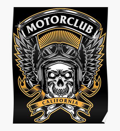 Skull Wings Motorclub California Poster