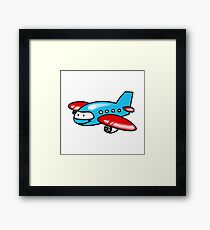 Funny blue airplane cartoon Framed Print