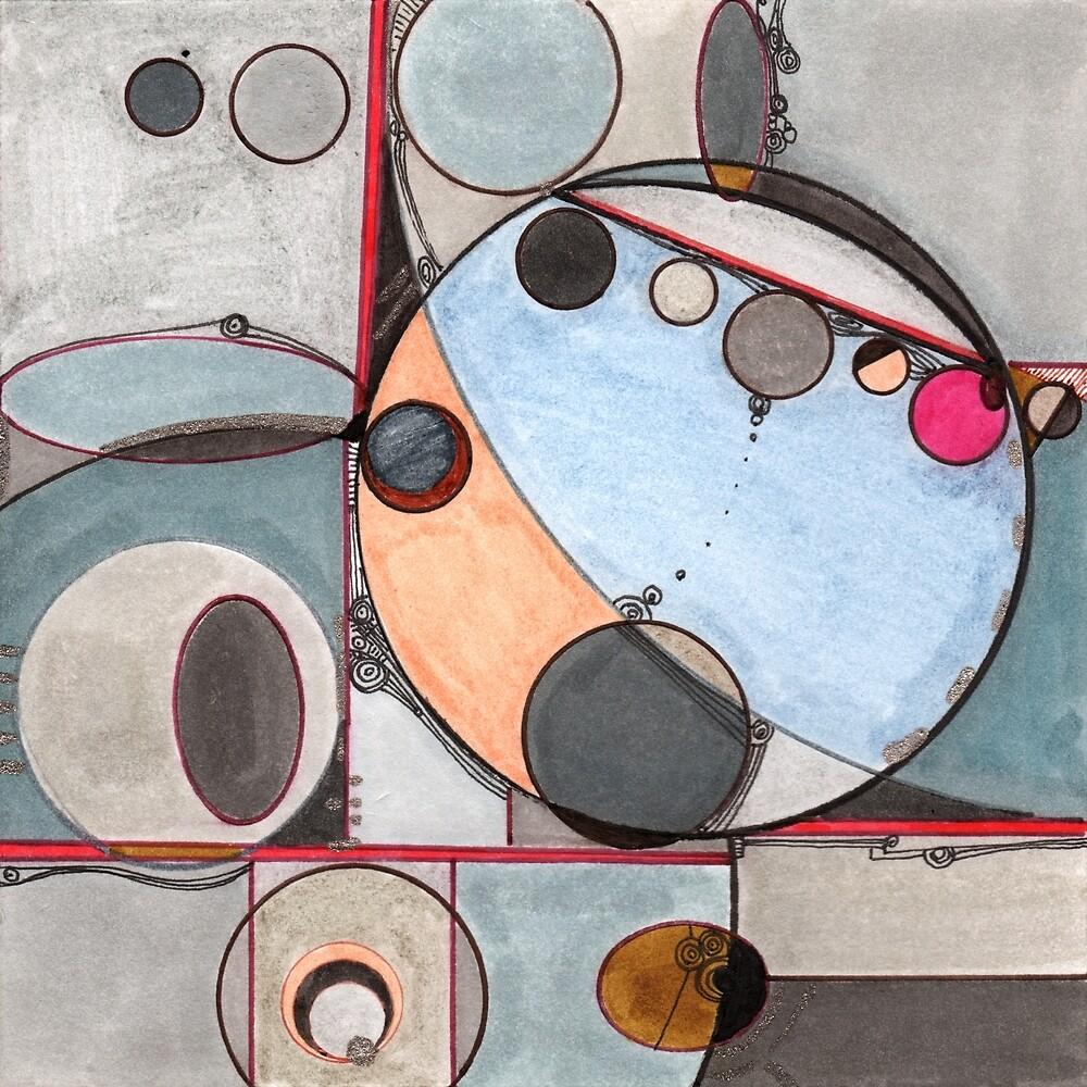 Slits and Mirrors, Ink drawing by Regina Valluzzi