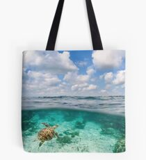 Over Under Shot, Green Sea Turtle Tote Bag