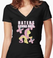 Fluttershy and butterflies Women's Fitted V-Neck T-Shirt