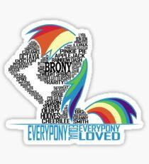 Brony Typography (white) Sticker