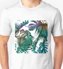 Tropical Flowers Jungle Print Banana Palm Leaves Hawaiian Monstera Leaf Green White Teal Turquoise Slim Fit T-Shirt