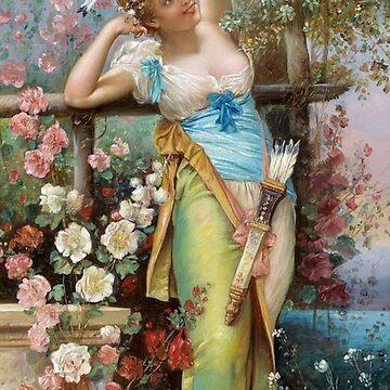 Painting, flower, dress, fashion, art, women, beauty, girls, femininity by znamenski