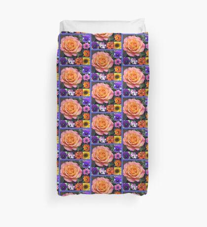 Blumen der Sommer-Collage, die leuchtende Rosen-Schönheit kennzeichnet Bettbezug