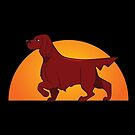 Setter Life - Whimsical Pointing Irish Setter with Sun by ISCCanada