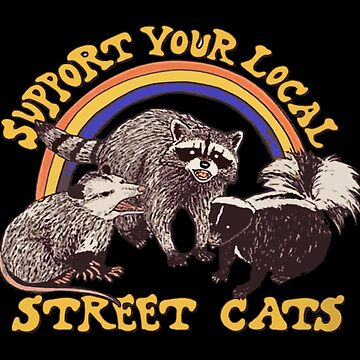 Apoye su camisa divertida de los gatos locales de la calle mapache, oposum, mofeta de IntrepiShirts