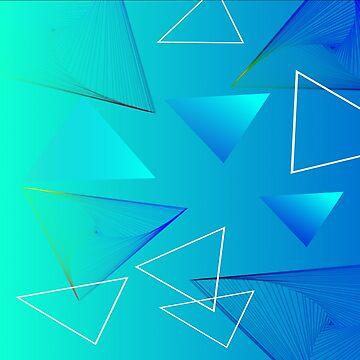 Aqua Triangle Abstract Art Design by CreatedProto