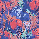 «Patrón sin fisuras de orgullo león entre la hierba y los arbustos» de Ekaterina Glazkova