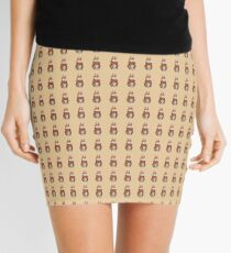 cute brown Bunny smiling and colourful flowers art  Mini Skirt