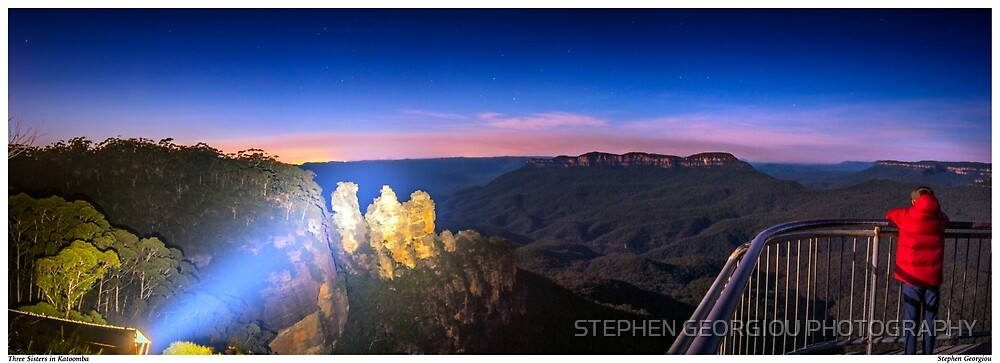 Three Sisters at Night by STEPHEN GEORGIOU PHOTOGRAPHY