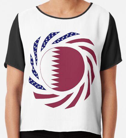 Qatari American Multinational Patriot Flag Series Chiffon Top